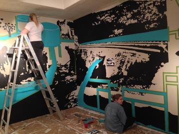 "2014 - Installation of ""Sip. Do Not Gulp."" De Saisset Museum, Santa Clara, CA. Students helping!"