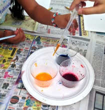 Working with pipettes and watercolor inks