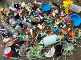 Plastic debris found on Pacifica beach.