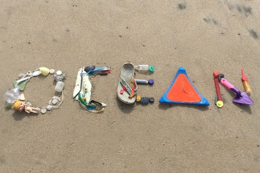 Made with plastic debris found on Santa Cruz beach, January 2016