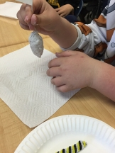 shaping the chrysalis with paper mache