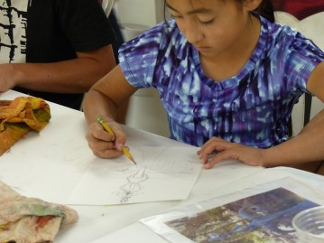 Day 5 - back to the Barn Studio - free time to sketch and to use watercolors, pastels, tempera.