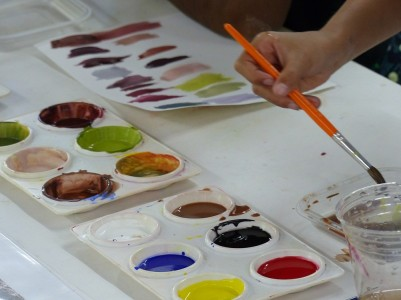Day 4 - Tempera paint using prints of photos taken the day before during the hike - making a color palette