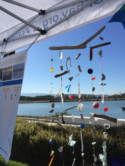 A larger version of the mobiles, made with trash collected along the SF Bay