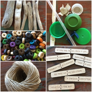 Materials to make a mini mobile: wood, beads, trash, thread, wooden tags.
