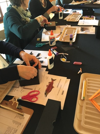 Participants working on the image for their shadow boxes.