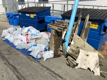 All the trash that the volunteers removed from the Guadalupe Slopugh site in Sunnyvale during Coastal Cleanup