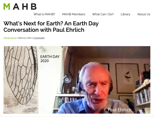 Earth Day with Paul Ehrlich